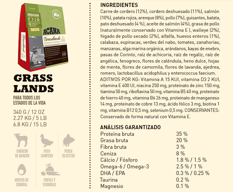 Acaca Grasslands Ingredientes